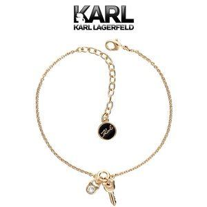 KARL LAG Mini Choupette Lock & Key Charm Bracelet